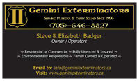 GEMINI EXTERMINATORS - Pest Control For Muskoka & Parry Sound
