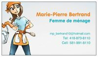 Femme de ménage (Pont-Rouge, Donna, Ste-Cath, Neuville, St-Aug)