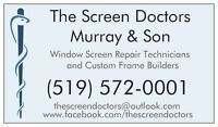 Screen Replacement + Repair 4 Windows+Doors, Custom Frames Built