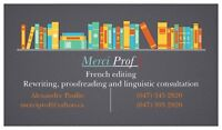 Merci Prof ! - French editing, translation and writing