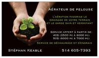 Aération de pelouse, service de dechaumage, région Blainville
