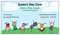 Susan's Day Care....Where having fun happens every day.