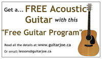 New Beginners Get Your Free Quality Guitar And Lessons!