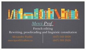 Merci Prof ! (translation, proofreading and writing)