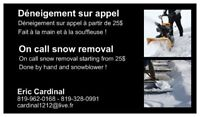Deneigement sur appel / On call snow removal . 819-962-0168