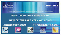 Tax return+E-file just for $30/$55 (couples)