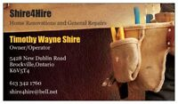 SHIRE4HIRE RENOVATIONS AND GENERAL REPAIRS