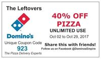 40% off pizza at Dominos code: 923