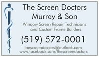 Screen Replacement + Repair 4 Windows+Doors, Custom Frames Built