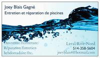 Service piscine Laval/Rive Nord + Entretien hebdomadaire