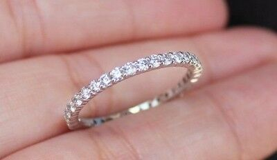 New Sz7 14K 0.75ct Natural Round Diamond (H,SI) Eternity Ring Band White Gold