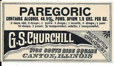 Vintage pharmacy Label - Paragoric w/1.9 grams Opium.  Canton IL