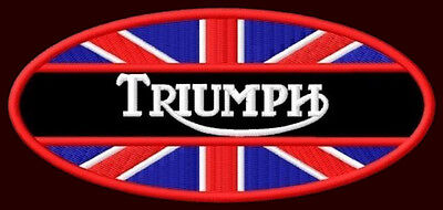 """TRIUMPH EMBROIDERED PATCH ~5"""" x 2-1/4"""" MOTORCYCLE CAFE RACER BONEVILLE TIGER T20"""