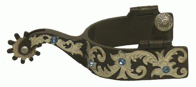 Engraved Western Saddle Horse Show Spurs Brown w/Silver + Blue Bling! Adult size