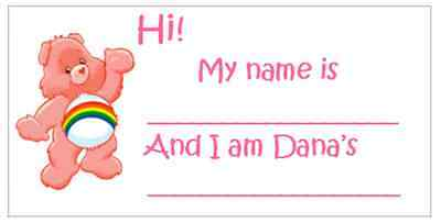 Care Bear Bears Baby Shower Guests Name Tags - Care Bear Baby Shower