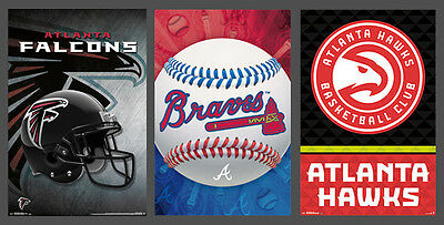 (ATLANTA SPORTS 3-POSTER COMBO - Hawks, Falcons, Braves Team Logo POSTERS)