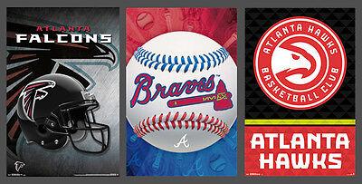 (ATLANTA SPORTS 3-POSTER COMBO - Hawks, Falcons, Braves Team Logo POSTERS)