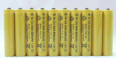 10 pcs Rechargeable NiCd AAA 600mAh Ni-Cad Batteries for Solar-Powered Light (600mah Nicad)