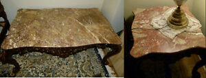 VICTORIAN BROWN TOP REAL MARBLES COFFEE TABLE CONSOLE END TABLES