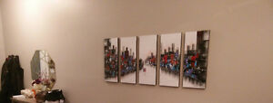 5pc art piece Painting on canvas Only us in this crazy world Kitchener / Waterloo Kitchener Area image 1