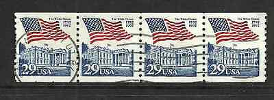 UNITED STATES POSTAL ISSUE -1992 - USED STRIP OF 4 FLAG & WHITE HOUSE DEFINITIVE