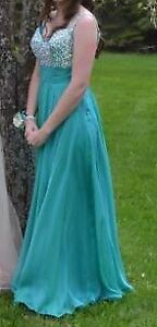 Teal prom dress - worn once - sequins.  Size 6