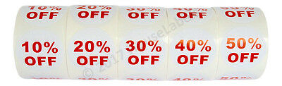 1 Set 5 Rolls Of Discount Labels 10-50 Off 500 Lblsea 2.5 Bpa Free