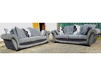 2 x 3 Seater Sofas Grey/Black