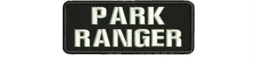 PARK RANGER EMBROIDERY PATCH  2X5 hook on back blk/white