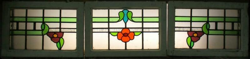 """SET OF 3 OLD ENGLISH LEADED STAINED GLASS WINDOWS Floral Band 70.5"""" x 16.25"""""""