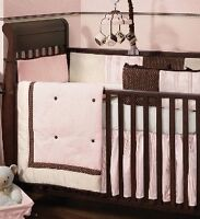 Lambs and Ivy pink and brown girls bedding