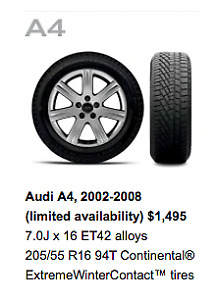 Audi A4 Winter Continental Winter Contact Tires On Rims