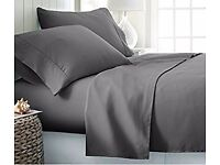 Egyptian cotton 600 thread count SUPER KING sheet set, solid grey color, deep pockets 35 CM