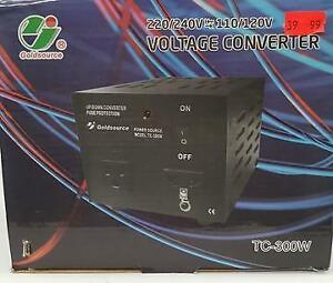 GOLDSOURCE TC-300W VOLTAGE CONVERTER 220/240V TO/FROM 110/120V, 300 WATTS - NEW $39