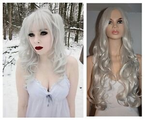 NEW: Deluxe 80cm Silver-White Wig for WITCH or VAMPIRA Costume