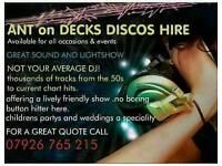 Ant on decks Dj disco hire