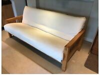 Solid Oak 3 Seater Futon Sofa Bed With Mattress, OKE Range - Great Condition
