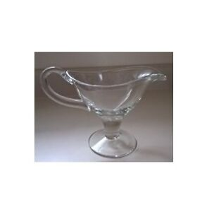 Clear Glass Footed Gravy / Sauce Boat