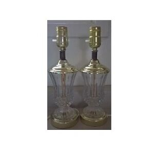 Waterford Style Crystal Lamps with Brass Toned Metal Base