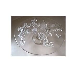 Crystal Glass Embossed Cake Stand with Fruit Pattern