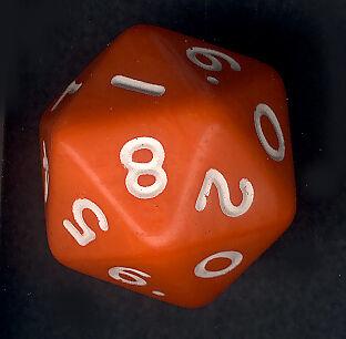 Schummelwürfel W20 (Zwanzigseiter, 2 x 0-9 nummeriert)!