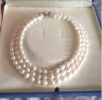 Gorgeous 3 Strand Japanese Cultured Freshwater Pearls