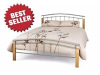 Metal Bed Frame Double bed 4 FT 6 - Silver with Mattress - Hardly used - £100!! see details