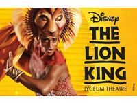 2 X LION KING TICKETS - FRIDAY 11 MAY - BEST STALLS - £75 EACH - 7.30pm