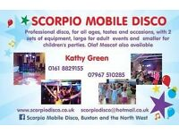 Scorpio Mobile Disco, music for all occasions, inc. children's parties with games & optional Olaf