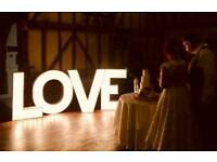 "4ft illuminated ""LOVE"" letters"