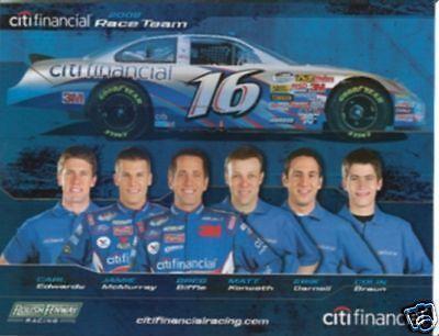 2008 Roush   Citi Financial Team Card 6 Drivers Postcard