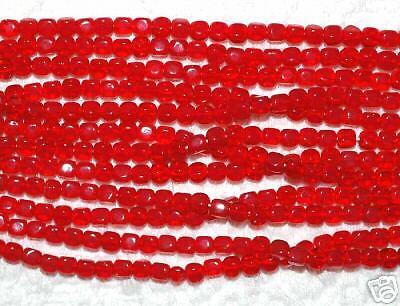 (*SSM* Mini-Cube Beads 4mm Czech -- Lt. Siam Ruby (50))