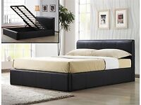 DOUBLE BED LEATHER WITH STORAGE TAILLIFT 4FT WITH MEMORY FOAM MATTRESS
