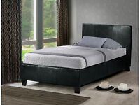 SUPER SALE- SINGLE LEATHER BED FRAME WITH ECONOMY QUILTED MATTRESS - EXPRESS DELIVERY